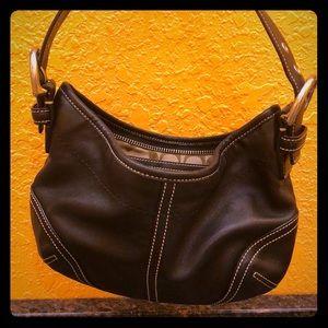 Smooth leather coach shoulder bag